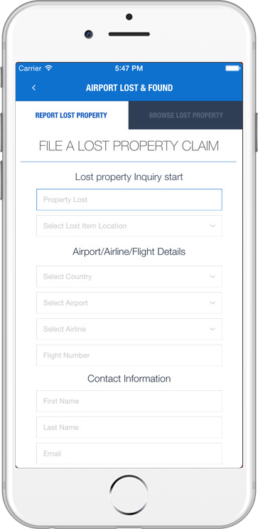 Airport app for File a lost property claim